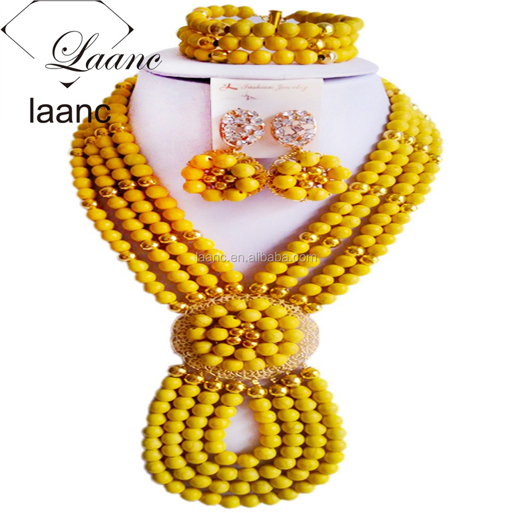 Wholesale Wedding African Beads 4Layered Necklace Turquoise Conchos Yellow Jewelry for Nigerian Women