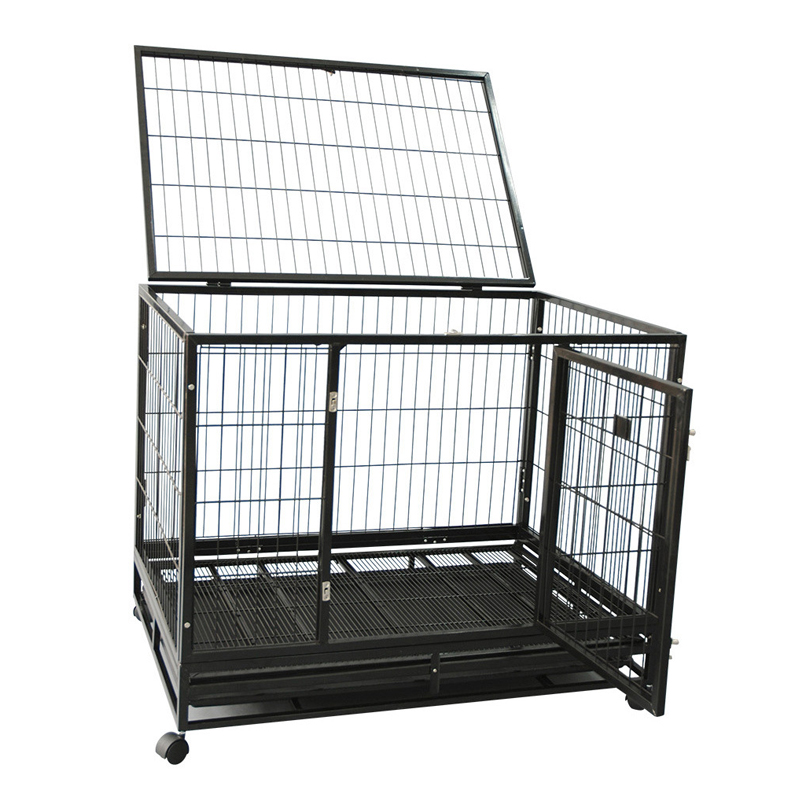 heavy duty folding square tube dog cages