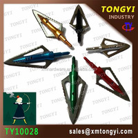 TY10028 metal 2 blades tapered crossbow broadhead screw-in style field points are designed to fit all carbon and aluminum arrow