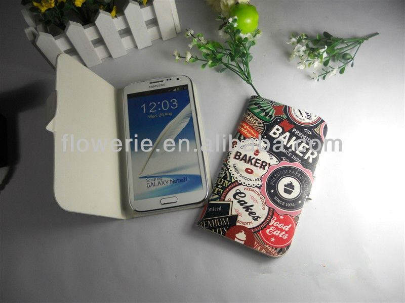 FL1529 2013 NEW High Quality Leather Wallet,fashion design phone case for Samsung Galaxy note II 2 N7100