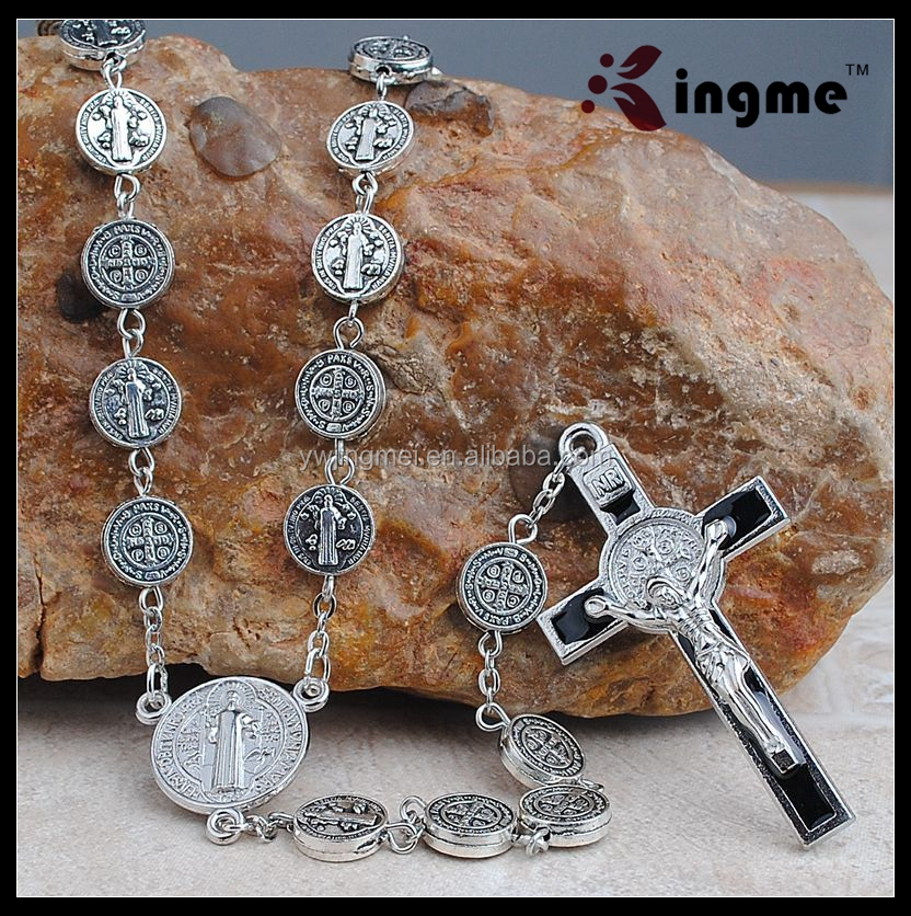 10mm Antique Silver St.Benedict Metal Beads Religious Rosary