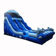 most popular 18 ft Dolphin Wave inflatable slide/ dry slide supplier china