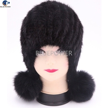 Sweet lovely mink fur knitted girls earflap hat with pom pomsTD1760