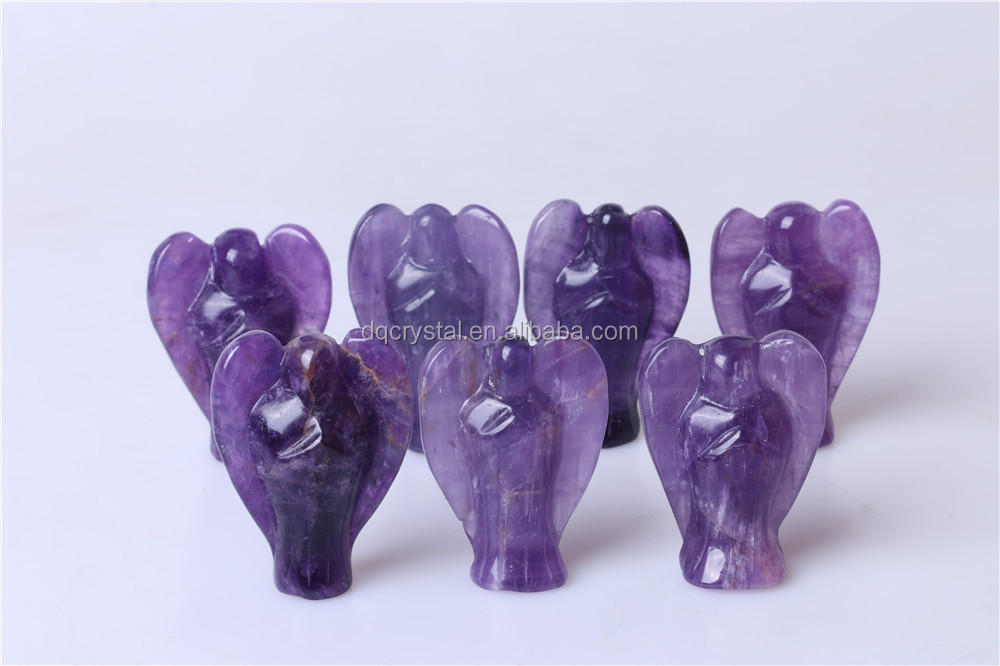 Wholesale Bulk Natural Amethyst crystal angels figurine for gitfs