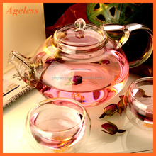 Wholesale Borosilicate Heat Resistant Clear Glass Teapot with Infuser and Warmer Glass Tea Set