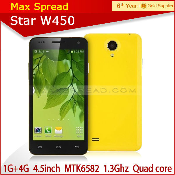 Star W450 Smart phone MTK6582 Quad Core 1.3GHz Android 4.2 1GB RAM 4GB 3G GPS 1gb ram cell phone