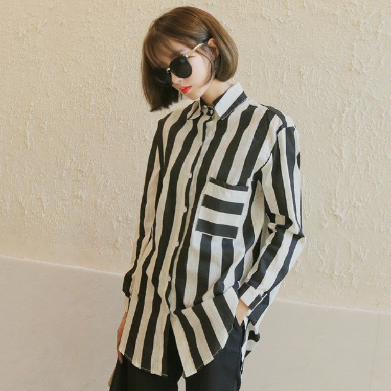 Black White Striped Pattern Design Ladies Japanese Heavy Work Blouses