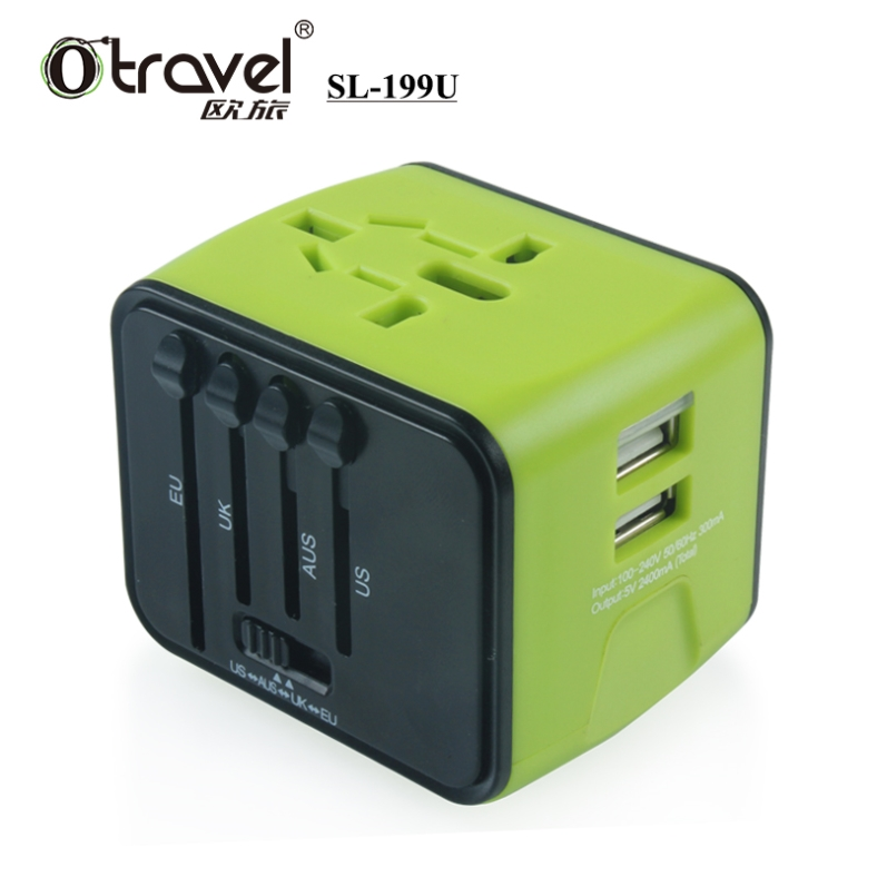 All in one EU USA Australia UK travel plug World Travel USB Power Adapter 2017 hot selling world wide universal charger dual usb