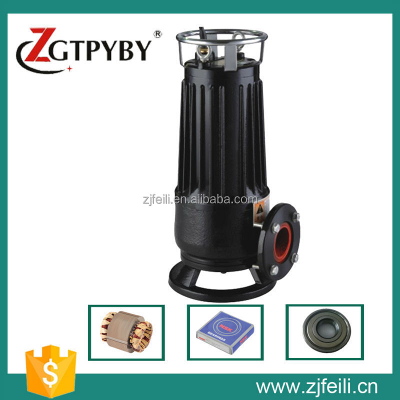 non-clog vertical single stage single suction centrifugal submersible sewage cutting water pump pumping
