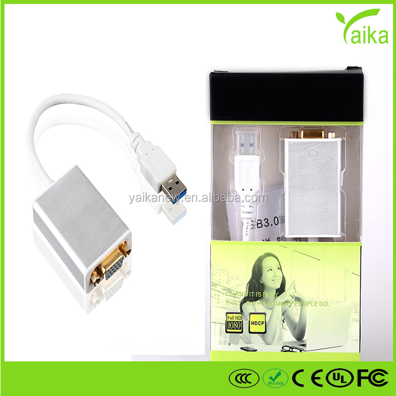 Yaika USB3.0 VGA cable USB3.0 to VGA male to female display cable with chip support high definition resolution