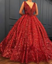 Dark Red Quinceanera Gown Long Prom Dress Sexy Deep V Neck Full Length Saudi Arabia Sequined Prom Dresses 2018 Dress for Women