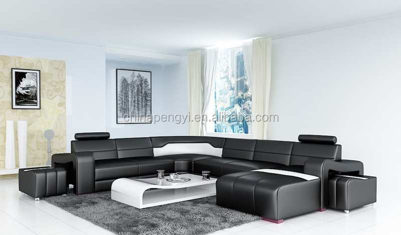 Hot Sale Modern big black U-shaped genuine leather Corner Sofa living room sofa PY-V016B