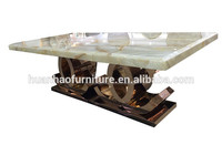 Fashion design marble top dining table with c shape base DH-1441
