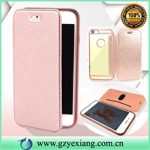 popular flip leather case cover for samsung galaxy grand 2 smartphone case with chrome tpu