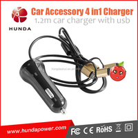 Premium 4.8a powerful 5 pin and 8 pin usb car charger for iphone 5 5s 6