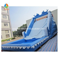 Commercial giant cheap inflatable bouncy climbing water slide with water pool for adult for sale