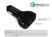 Qualcomm Quick Charge 3.0 dual usb car charger, Type C/USB C port dual usb car charger, fast car charger for APPLE new macbook