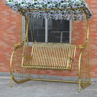 Flat Pack Antique Outdoor Furniture Double Two Seat Patio Garden Backyard Metal Wrought Iron Swing Chair with Canopy