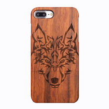 Wholesale Wolf Totem Pattern Solid Rose Wood Bamboo Real Wooden Phone Case Cover For iPhone 7 plus