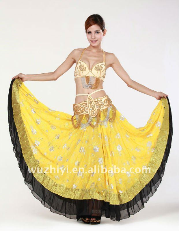Black & Yellow Belly Dance Gypsy Skirt (QC1294)