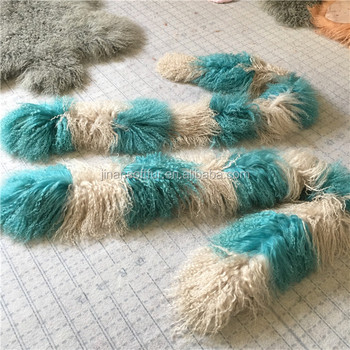 Ladies luxurious Mongolian fluffy fur scarf long hair wool winter collar