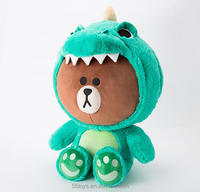 custom stuffed dolls kakao line friend brown bear with dinosaur coat