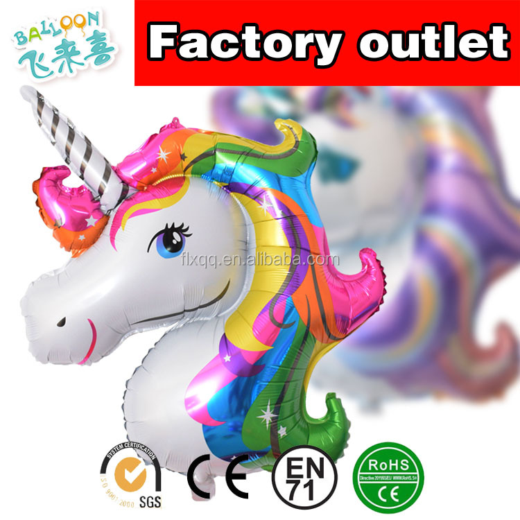 Color Unicorn balloon big cartoon horse head balloon balloon foil birthday party decoration supplies manufacturers wholesale