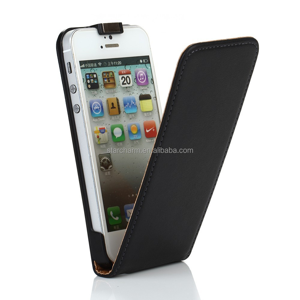 Western style flip down cover Genuine leather case for iphone5