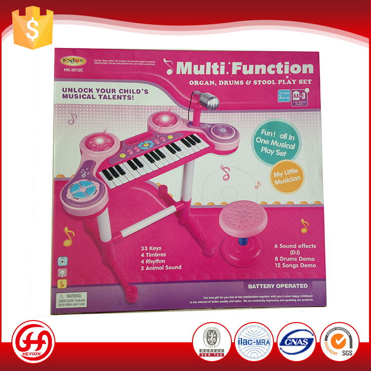 Most popular plastic educational baby music table instrument pink musical piano keyboard