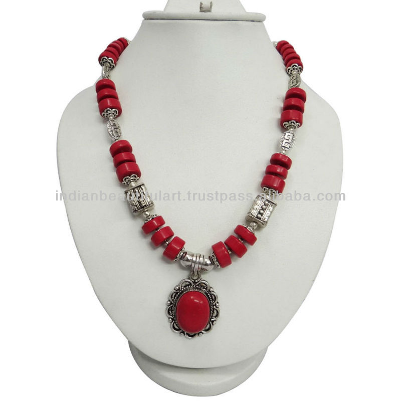 RED CORAL STONE ETHNIC SILVER TONE BEADED PENDANT NECKLACE FASHION INDIA JEWELRY