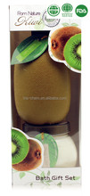 OEM/ODM pleasant kiwi fragrance shower gel body lotion in PVC window paper box