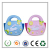 7.5 inch White bunny pink and blue Easter felt tote bag