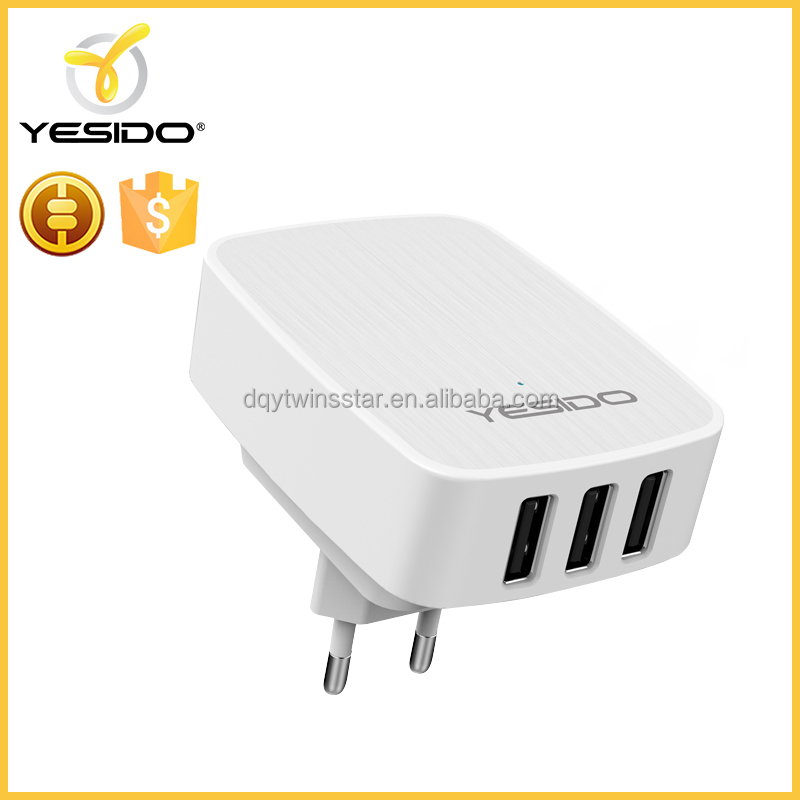 3ports portable qc3.0 wall charger for usb devices used in travel