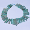 Gemstone Pendant Russian Amazonite Top Drilled Graduated Long Slices