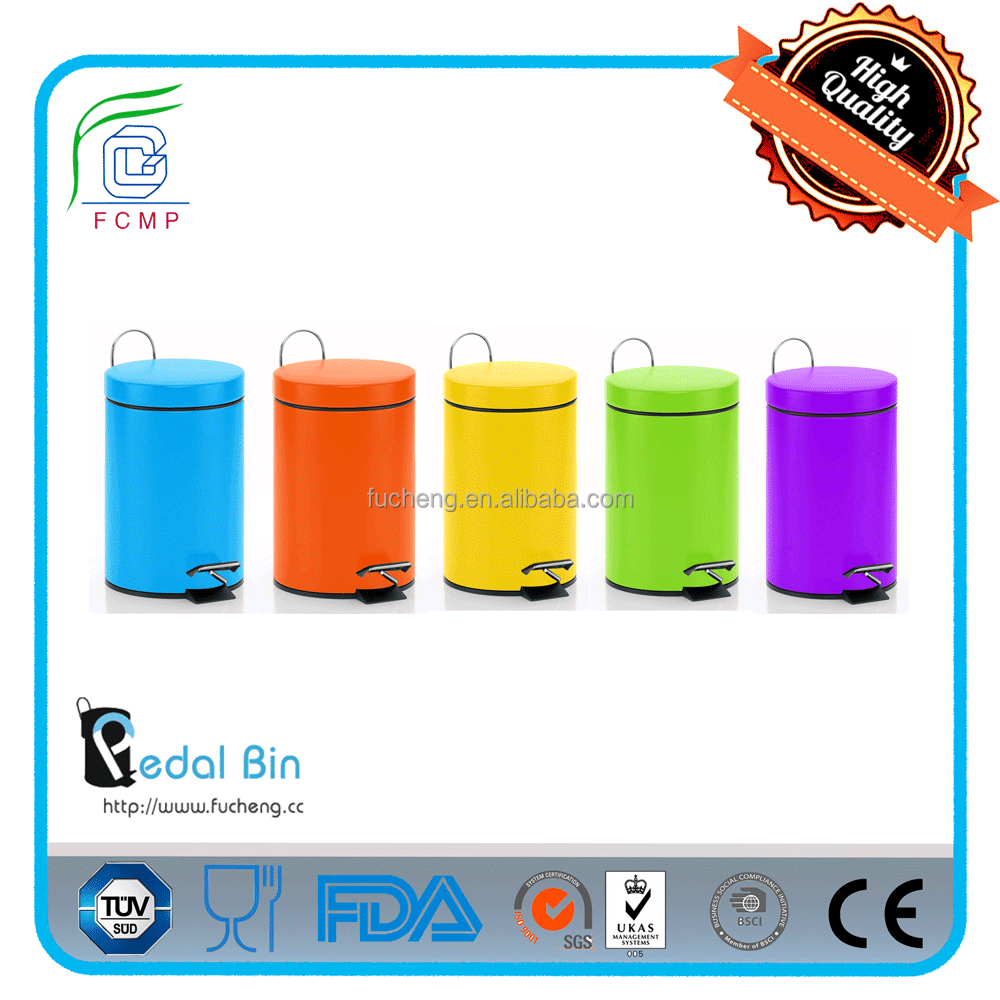 round waste storage cream color eco recycling rubbish bin for household