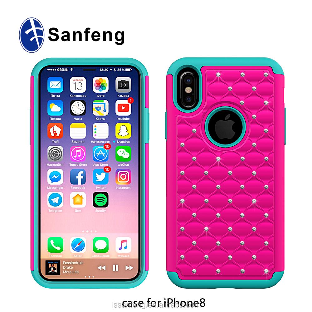 bling hard pc and soft silicone mobile cover for apple iphone 8 case