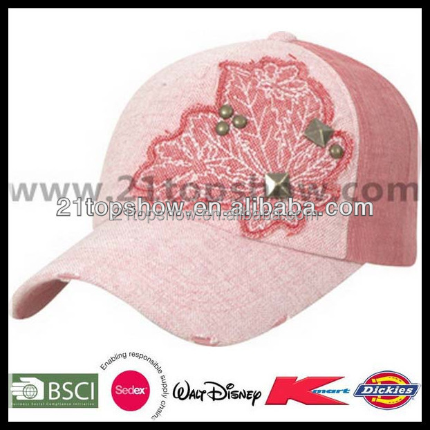 Pink metal buckle fashion embroidery patch trucker cap