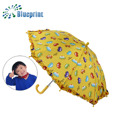 Children ruffle colorful cartoon character kids umbrellas wholesale