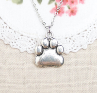 Hot selling antique silver 19.09 mm*16 mm size paw print necklace
