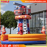 giant commerical inflatable climbing tower fire truck/ inflatable air mountain/ inflatable climbing wall for kids