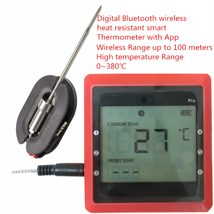 2017 Newest Digital Bluetooth wireless heat resistant free app Thermometer for BBQ
