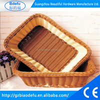 Rectangular Plastic PP Rattan Basket, Flower Rattan Basket, Bread Basket