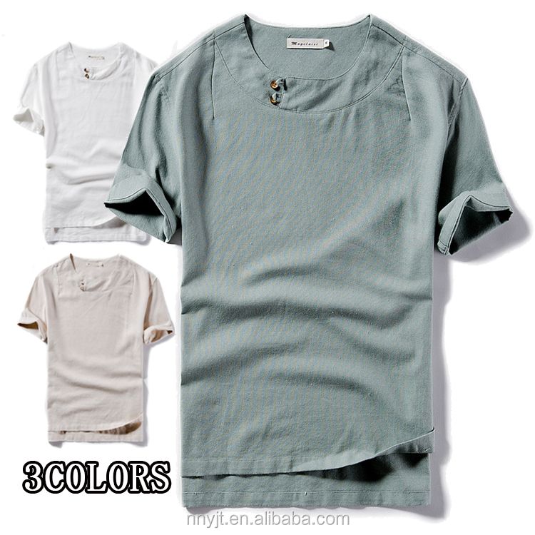 2017 Summer Man Short Sleeve Button Collar Hemp <strong>T</strong> <strong>Shirts</strong> Wholesale