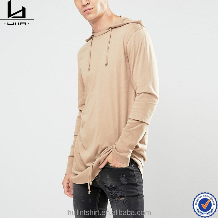 China import men wear hip pop elongated style t shirt with hood and hem string detail blank activewear