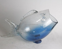 ocean blue style glass fish table decoration with bubble glass at bottom