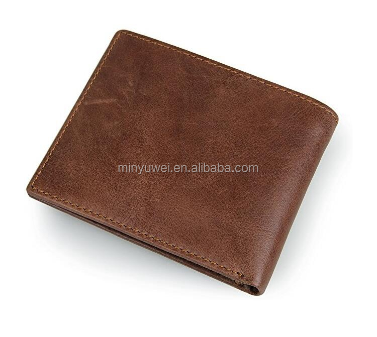 Hot sale Genuine leather high quality RFID mens wallet customized