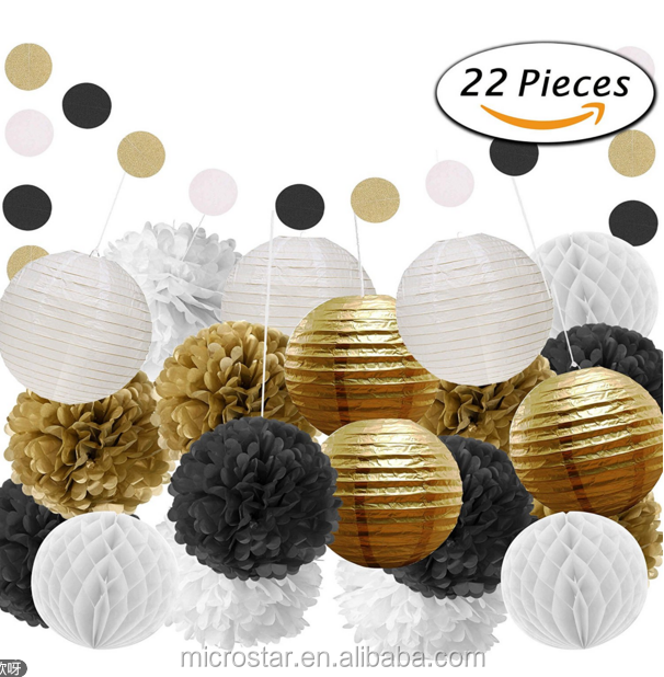 22 Pcs Black Gold White Tissue Pom Poms Paper Flowers Paper Lanterns Wedding Banner for Birthday Party Decoration