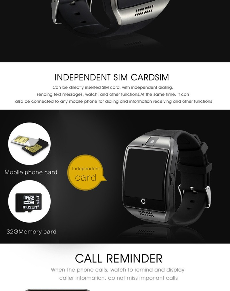 Smart watch q18 Multifonction with camera TF card Bluetooth Smart watches for Android IOS Phone for xiaomi samsung