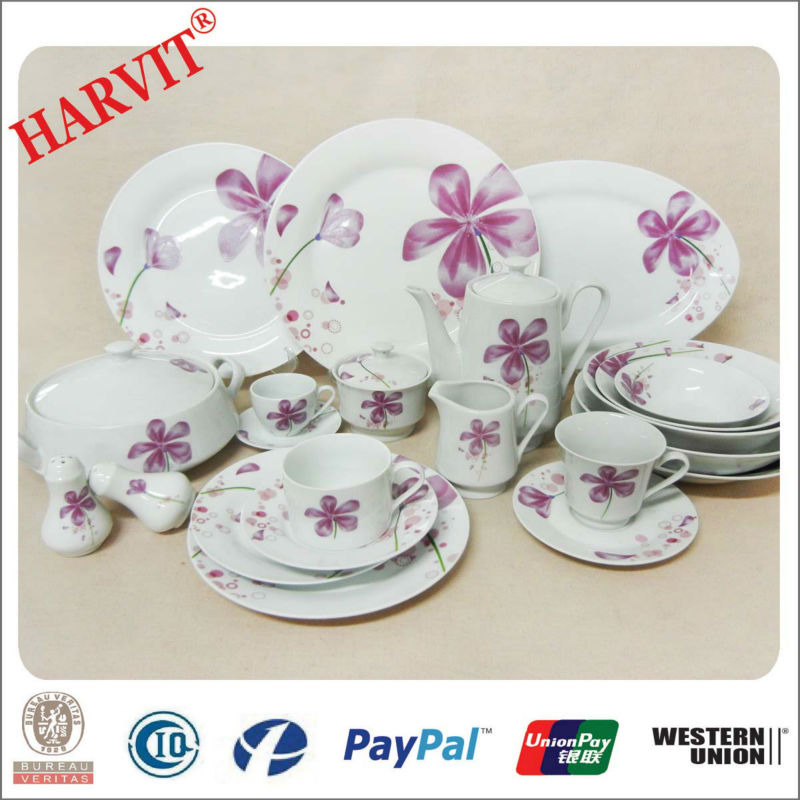 2014 Hot Sale Dinnerware Sets China Supplier/French Style Homewares Wholesale/ Round Ceramic Decal Printer Dinnerware Sets