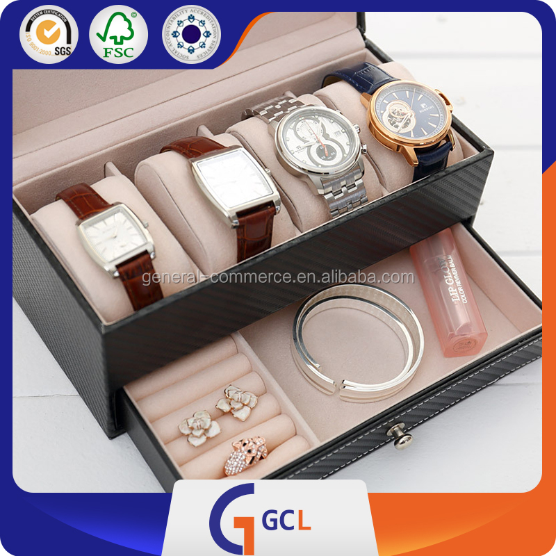 3.4.5.6.10 slot cosmos black PU leather watch box
